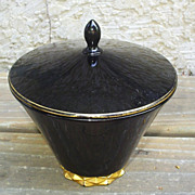 Fostoria Diadem Art Deco Black Candy Jar W/Crown Gold Decoration