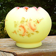 Fenton Rose Burmese Satin Hand Painted Rose Bowl Vase