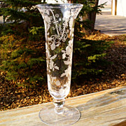 Cambridge Elaine Etched 6004 8&quot; Flower Vase