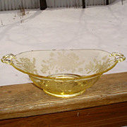 Paden City Ardith Yellow Handled Oval Serving Bowl