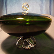 Aseda Swedish Crystal Covered Candy Bowl circa 1963