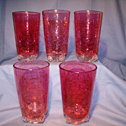 Set of 5 Early Blenko Rosette Tumblers