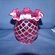 Fenton Diamond Optic in Cranberry Opalescent