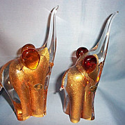 Pair Murano Elephants W/24K Gold