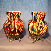 Pr Ribbed Spatter Vases
