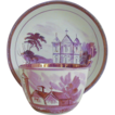 Staffordshire Pink Copper Lustre Cup & Saucer C1840 Lady Bathhurst collection