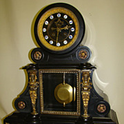 SALE Fantastic and Exclusive Black Marble Mantel Clock !!