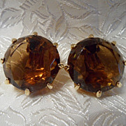 Vintage Large Amber Faceted Glass Earrings