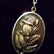 Vintage Sterling Silver Rose Relief Pendant by International Sterling