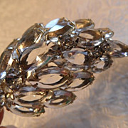Vintage Crystal Marquise Domed Leaf Brooch-Gorgeous