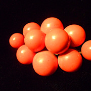 Vintage 1940's/50's Orange Painted Wooden Ball Cluster Pin/Brooch