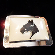 Vintage Belt Buckle with Horse Silhouette under Lucite