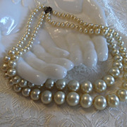 Just Lovely Art Deco Double Strand of Faux Pearls with Sterling Silver Clasp