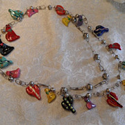 Vintage Festive Hand Painted Guatemalan Necklace with Wedding Beads