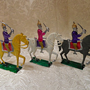 3 Vintage Mexican Conquistadors on Horses Metal/Lead Toys