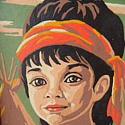 Vintage Sweet Indian Boy Paint by Number Painting