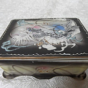 REDUCED Vintage Dragonware Moriage Cigarette Box or Trinket Box with 2 Trays