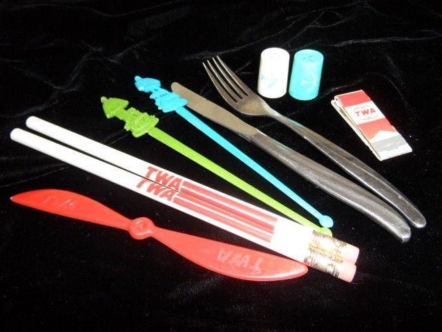 Vintage TWA Airline Silverware, S & P, Pencils & Swizzles