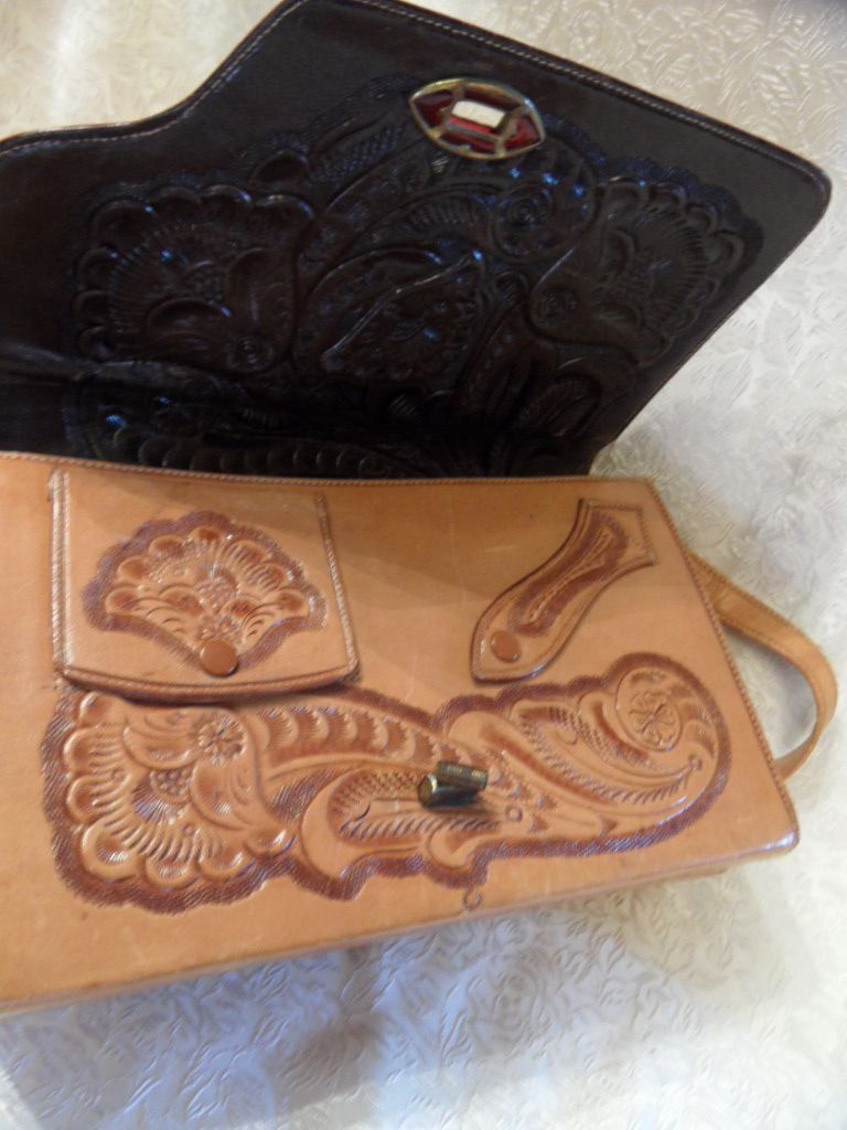 Vintage Awesome Tooled Leather Handbag that is Totally Reversible