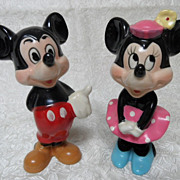 "Walt Disney Productions Ceramic Mickey & Minnie Mouse 6 1/2"" Figures"