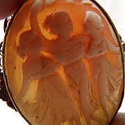 Elegant Filagree Shell Carved 3 Graces 12K Cameo Brooch~Pendant