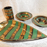 1960's Sheik Modern Italian Smoking Set, Ashtrays, Cigarette Holder, & Dish