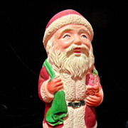 SALE Larger Celluloid Santa Figure with Toy Sack