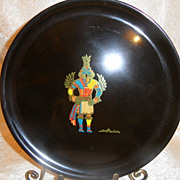 "Vintage 1960's Couroc  Hopi ""Kachina"" Inlay Plate"