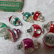 SALE 9 Vintage Shiny Brite  Stripes Indents, Finial Glass Ornaments in Box