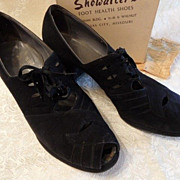 1950's Black Suede High Heel Shoes 10 1/2 A~My Grandmothers DressShoes!