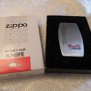 Vintage Zippo Money Clip Knife Advertising &quot;Maxfli&quot; Mint in Box