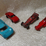 4 Vintage Tootsie Toy Die Cast Cars-Ford G.T., Firebird, Dragsters