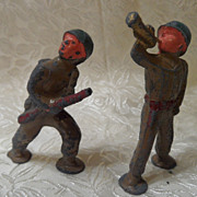 2 Vintage Heavy Cast Lead Toy WWII Soldiers