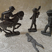 4 Vintage Toy Die Cast Lead Soldiers, one on Horse