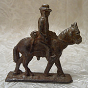 Vintage Cast Iron Toy Western Horse Soldier