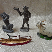 4 Vintage Cast Lead Toys-Goat, Ship, Policeman, Ancient Soldier