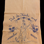 Vintage German Kitchen Embroidered Tea Towel~Very Cute
