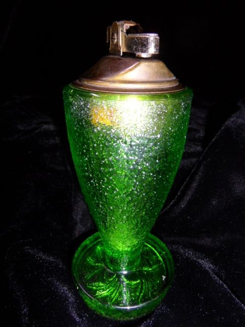 Vintage Tall Green Glass Table Top Lighter
