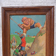 """Lawson Wood"" Humorous Monkey's Playing Golf Print Picture"