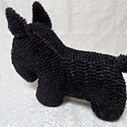 Vintage Large Stuffed Curly Chenille Black Scottie Dog