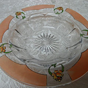Heisey Pink Rose Etched Shallow Dish