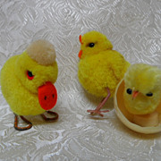 SALE Vintage Steiff Wool Pom Pom Duck & Chick & Chenille Chick in Egg