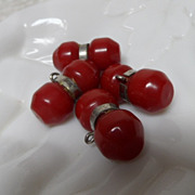 4 Large Cherry Red Bakelite Chunky Buttons