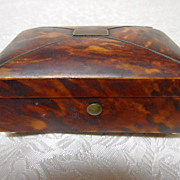 Antique Miniature Faux Tortoise Shell Trinket or Ring Box