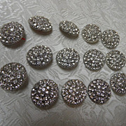 14 Fabulous 7/8&quot; Multi Clear Rhinestone Silver Dome Buttons