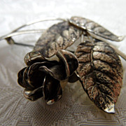 Vintage1950's  Forstner Sterling Silver Realistic Rose Brooch