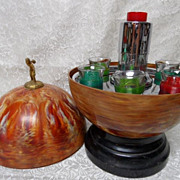 Vintage Bakelite Bowling Ball Barware Decanter Set