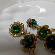Vintage Brass Flower & Green Rhinestone Buttons