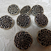 8 Vintage Mirror Back Filagree Buttons