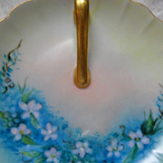 Prettiest Hand Painted Signed Periwinkle Blue Lemon Dish